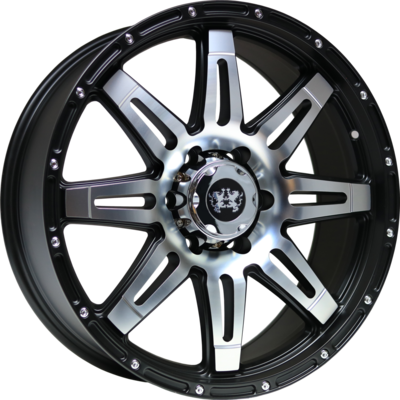 9x20 Lionhart LH3 Satin Black Polished Face Alloy Wheels Image