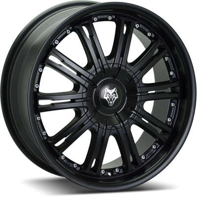 Wolf Design Vermont Matt Black Silver Rivets Alloy Wheels Image