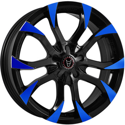 8x18 Wolfrace Eurosport Assassin Gloss Black Blue Tips