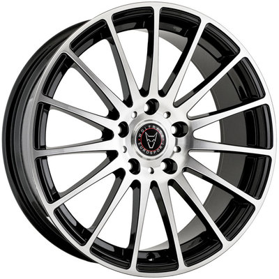 7.5x17 Wolfrace Eurosport Turismo Gloss Black Polished Alloy Wheels Image