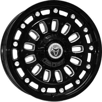 Wolfrace Explorer Explore Gloss Black Polished Chrome Rivets Alloy Wheels Image