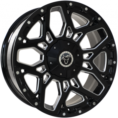 8.5X17 Wolfrace Explorer Sahara Gloss Black Polished Chrome rivets
