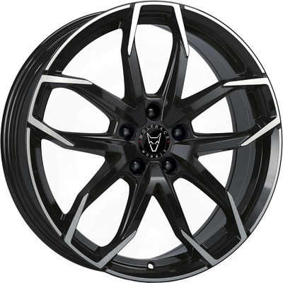 7.5x17 Wolfrace Eurosport Lucca Gloss Black Polished Alloy Wheels Image