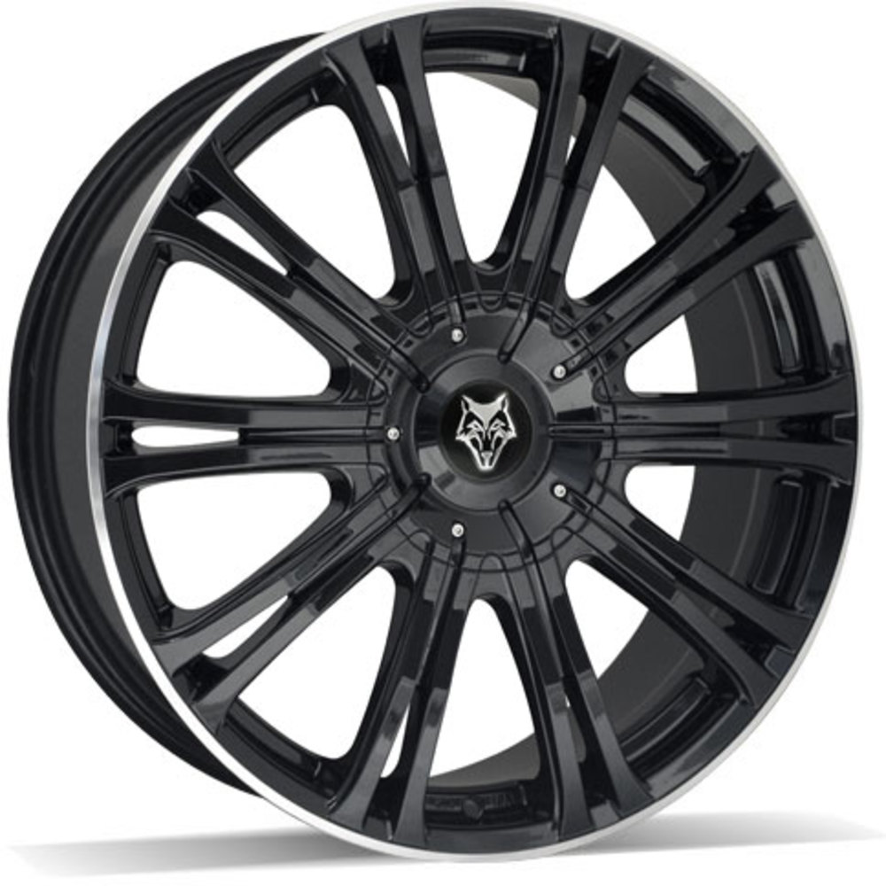 Large 8.5x20 Wolf Design Vermont Sport Gloss Black Polished