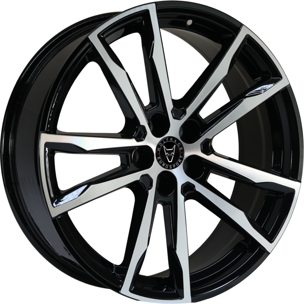 Large 8.5x20 Wolfrace Eurosport Dortmund Gloss Black Polished