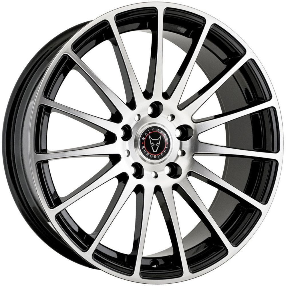 Large 8.5x18 Wolfrace Eurosport Turismo Gloss Black Polished