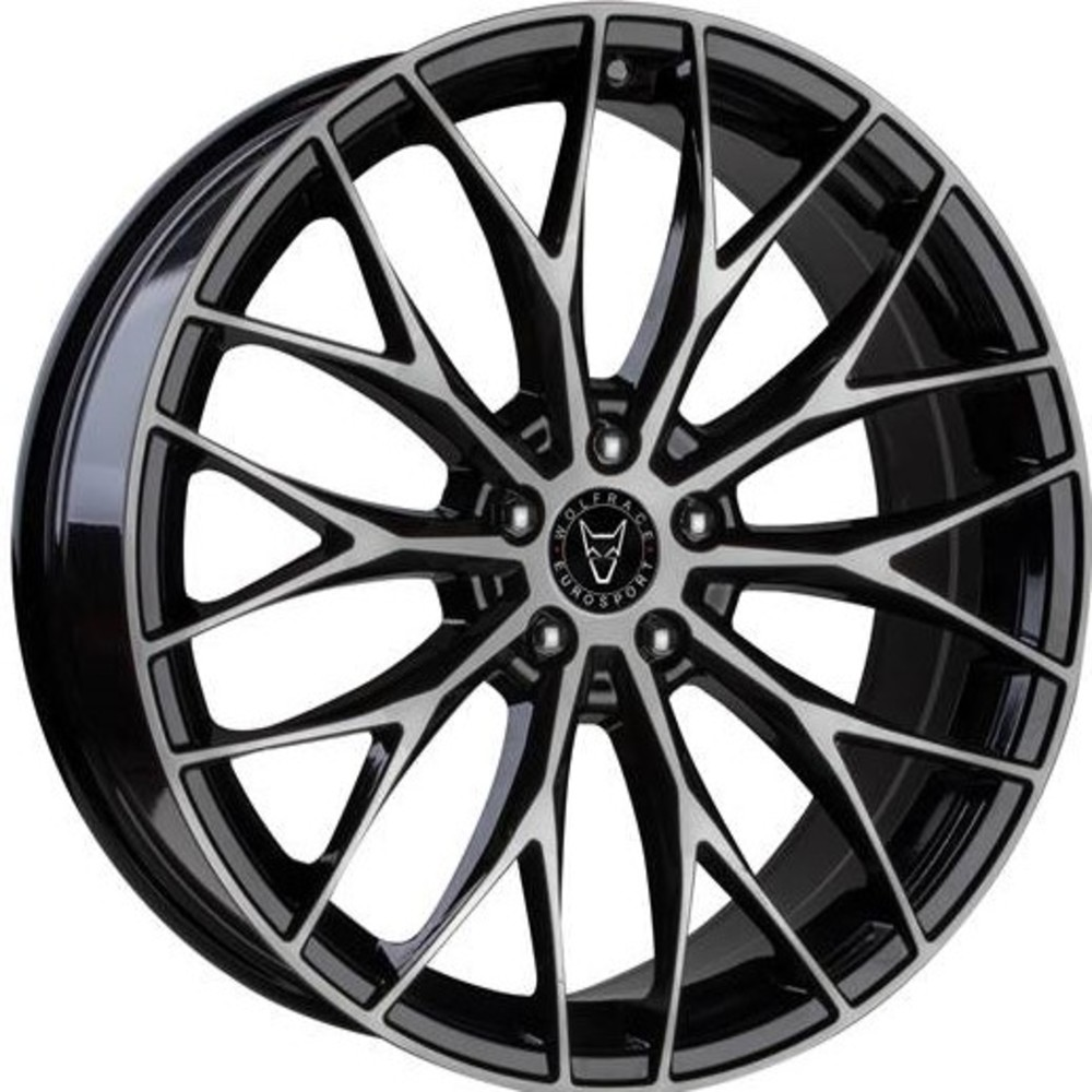 Large 8.5x20 Wolfrace Eurosport Wolfsburg Gloss Black Polished