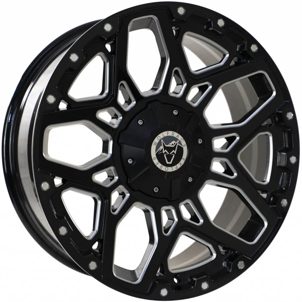 Large 8.5X17 Wolfrace Explorer Sahara Gloss Black Polished Chrome rivets
